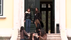 Students enter the higher institute of agronomy Lisbon Stock Footage