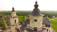 Aerial View. Church of the Assumption of the Blessed Virgin Mary in Budslau. Stock Footage