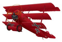 WWI Triplane Warbird Illustration - stock illustration