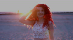 4k Shot of a Redhead Bride on the Beach - stock footage