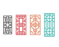 Rectangle Chinese window with pattern Stock Illustration