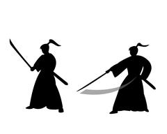 Samurai warrior in silhouette style Piirros