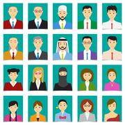Half body shot People in flat style with green background Stock Illustration