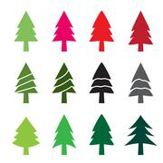 Set of christmas tree in silhouette style - stock illustration