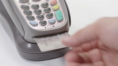Putting card into Interac and Credit Card Processing Stock Footage