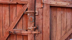 Old rural wooden gate panning Stock Footage