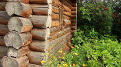 Rural old blockhouse wall in the garden panning Stock Footage