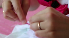 Handicraft production. Girl demonstrates the ability to crochet. Stock Footage