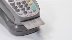 Rotating shot of Interac and Credit Card Processing Stock Footage