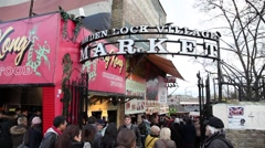 Entrance to Camden Lock Village Market London Stock Footage