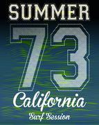 Athletic sport surf typography, t-shirt graphics, vectors Stock Illustration