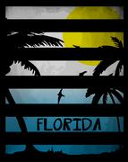 Summer tee graphic design florida california - stock illustration