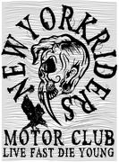 Tee graphic motorcycle club - stock illustration