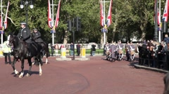 Royal guard parade in front of Buckingham Palace Stock Footage