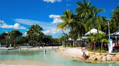 Streets Beach in South Bank Parkland, Brisbane - stock footage