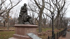 Statue of Poet Lyricist Robert Burns, Central Park, New York Stock Footage
