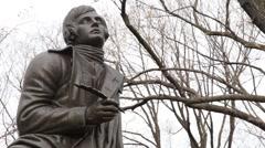 Statue of Poet/Lyricist Robert Burns, Central Park, New York Stock Footage