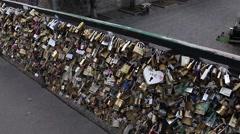 Padlocks on Pont des Arts in Paris France Stock Footage