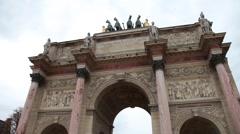 Arch of Triumph du Carrousel in Paris France Stock Footage