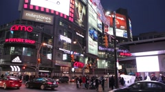 Traffic from street Yonge Dundas Square downtown of Toronto Stock Footage