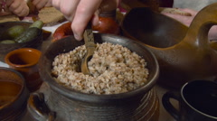 Meal in Russian Style. Closeup Stock Footage
