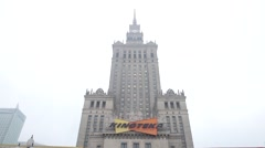 Palace of Culture and Science in warsaw Poland Stock Footage