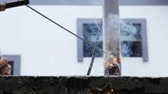 Welder working a welding metal Stock Footage