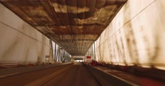 Perspective of Driving on a Tented Bridge Being Prepped for Painting Stock Footage