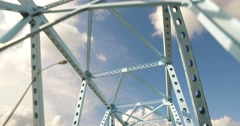 Looking Up at Steel Beams on a Bridge Stock Footage