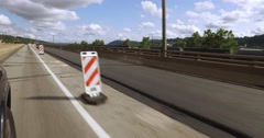 Driving Through a Road Work Zone with Highway Cones - stock footage