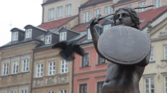 Statue in Historic Centre old town of Warsaw, Poland Stock Footage