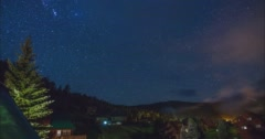 Stars Rising Over Mountains in Red River Stock Footage