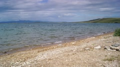 Beach on the shore of lake Itkul (Khakassia) Stock Footage