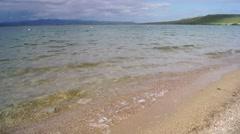 Waves on the beach of lake Itkul (Khakassia) Stock Footage