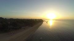 Sunrise in Sanur beach, aerial shot Stock Footage
