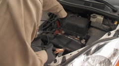 Checking Car Battery Stock Footage