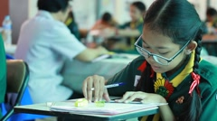 Activity of teaching Elementary students. Elementary students are Test lesson. - stock footage