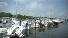 Several luxury sailboats in a marina Stock Footage