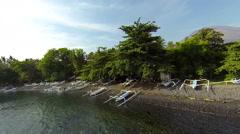Beach in Tulamben, aerial shot Stock Footage