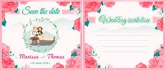 Wedding illustration card with blooming flowers and nature theme. Stock Illustration