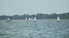 Boat regatta sailing school in the bay near Fire Island Stock Footage