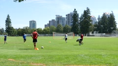 Soccer practice on the sport field  Stock Footage