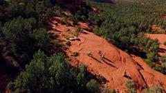 Aerial - Bikers on Chicken Point - Sedona, Arizona Stock Footage