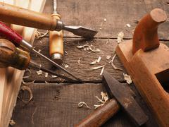 Carpenter tools on a workbench Stock Photos
