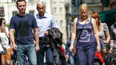 Slow motion. European city in summer day  . Unknown people.Editorial. Stock Footage