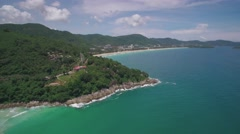 Aerial Drone Shot of Karon Beach and Headland Phuket Thailand - stock footage