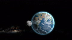 3D simulation of the Moon rotating around Earth. Space view - stock footage