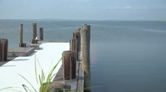 Dock at Ho Hum beach on Fire Island Stock Footage