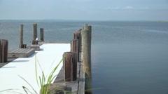Dock at Ho Hum beach on Fire Island - stock footage