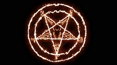 Fire Sign of the Devil - stock footage
